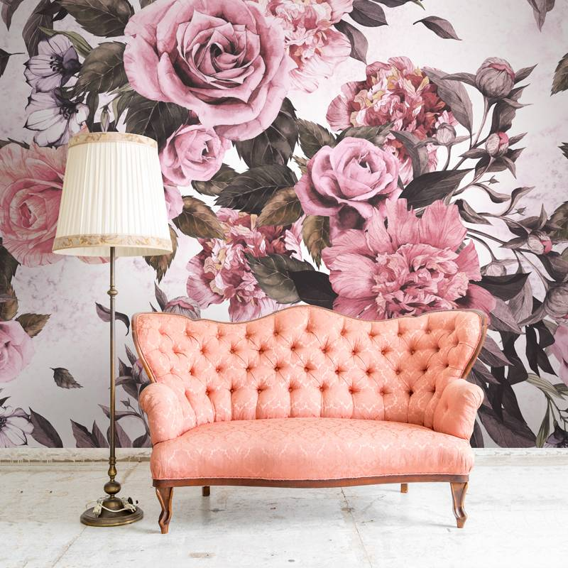 Retro flowers • Vintage - Living room - Nature - Flowers and plants - Wall Murals