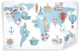 Murais de Parede Mapas mundiais para crianças