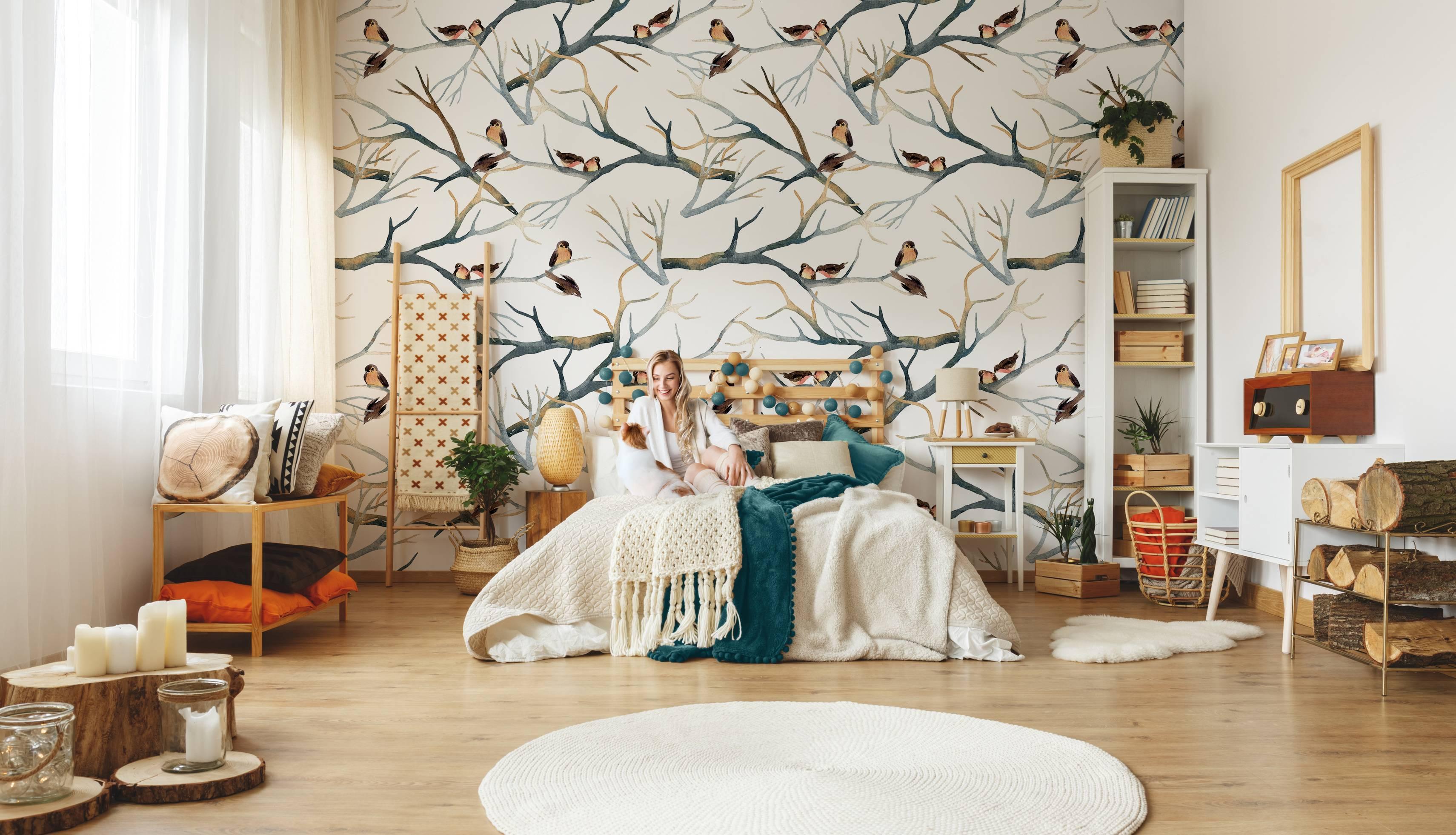 Spatzen auf einem verzweigten Baum • Skandinavisch - Schlafzimmer ...