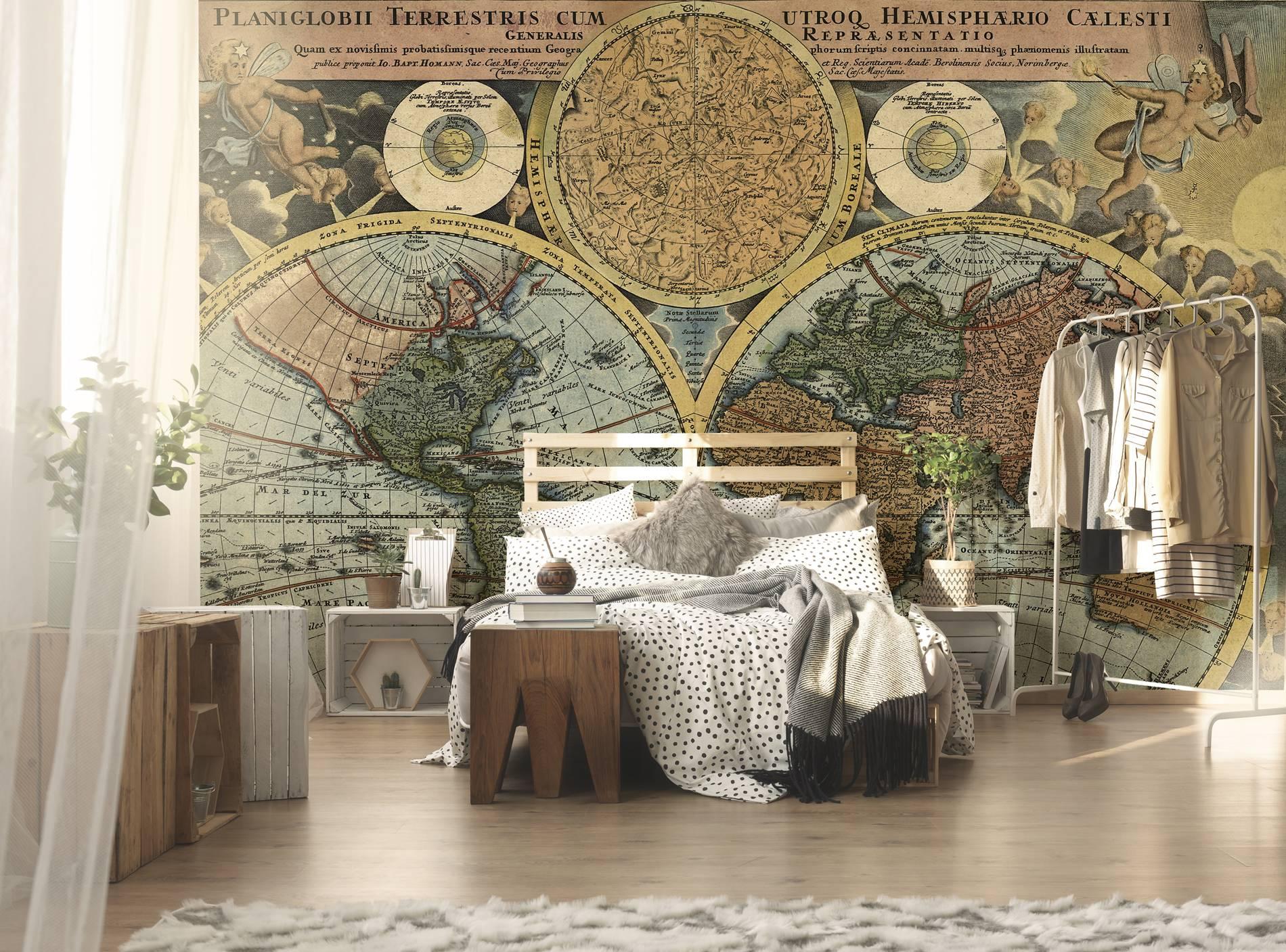 Antica mappa del mondo contemporaneo per camera da letto carte da parati mappe e - Camera da letto antica ...