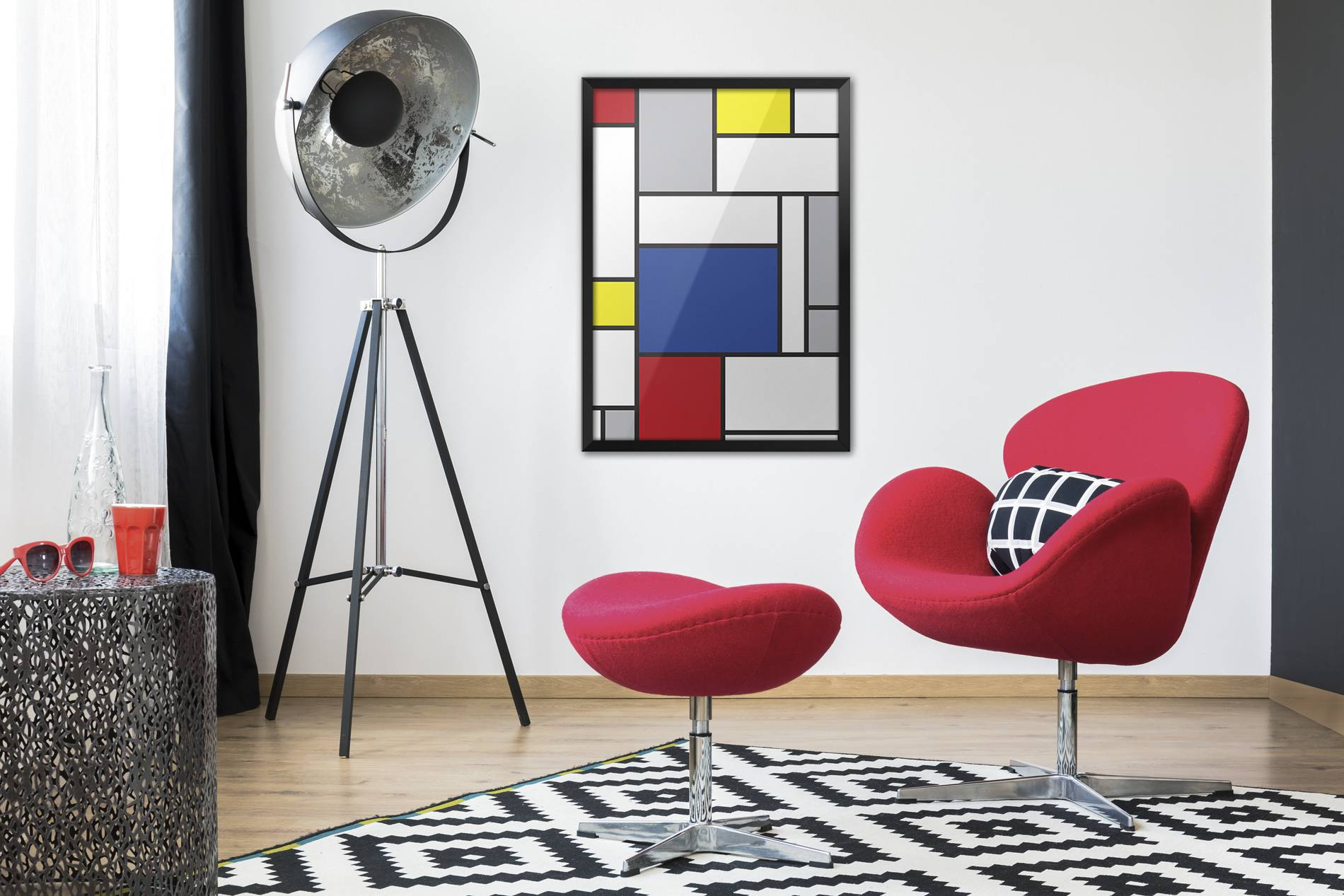 rot blau gelb und schwarz � wohnzimmer modern