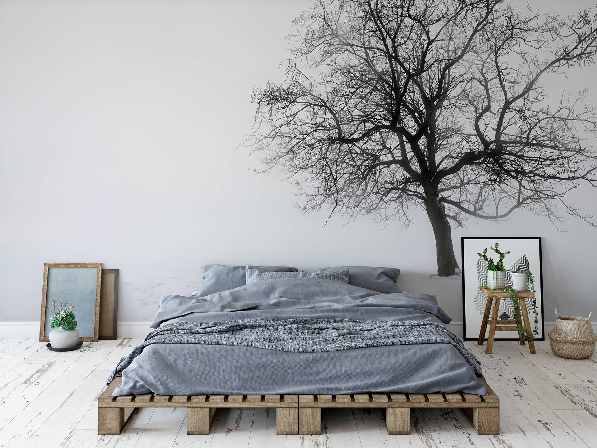 Black tree scandinavian bedroom nature wall murals for Black tree mural
