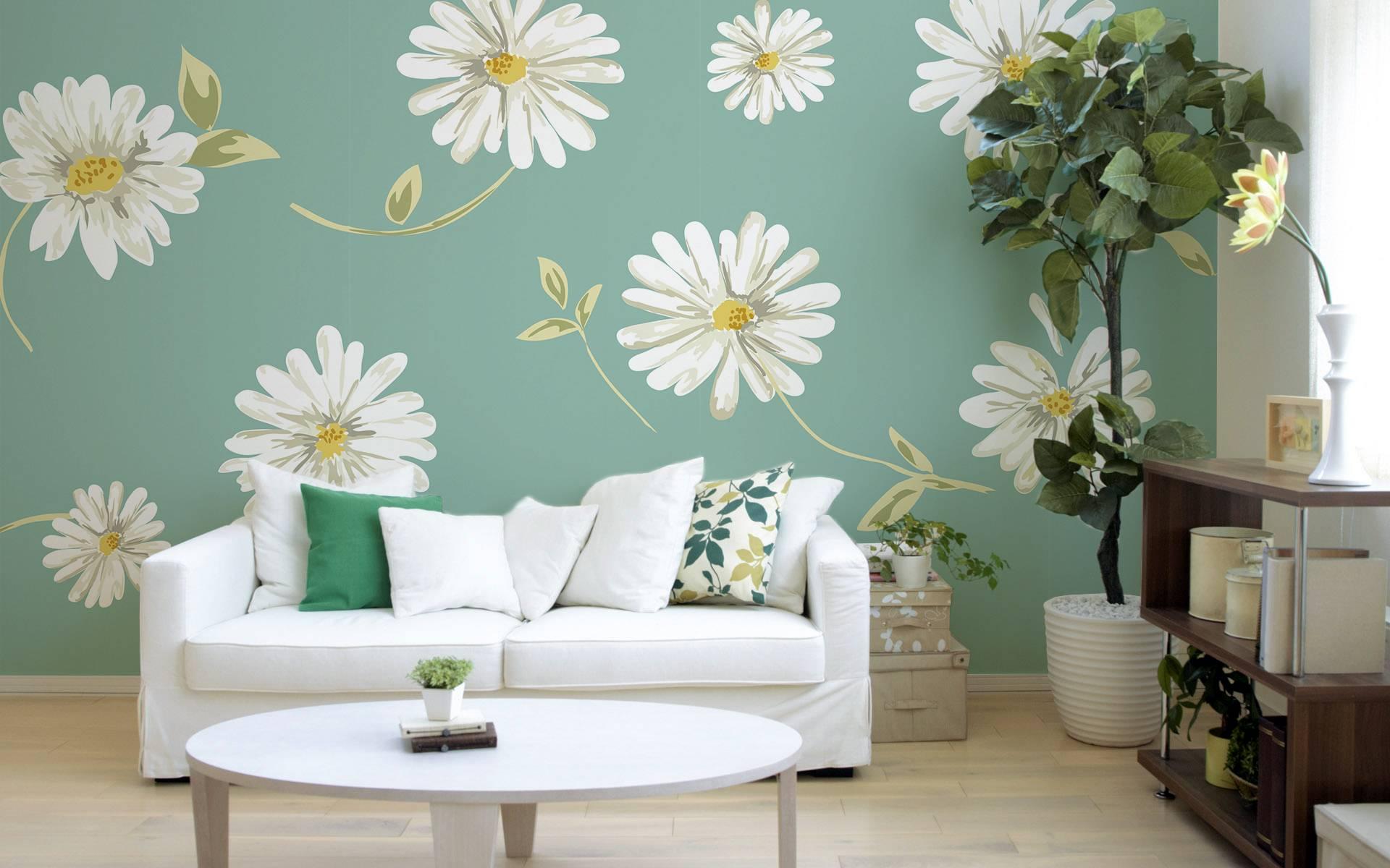Subtle Daisies • Retro - Living room - Wall Murals - Nature ...
