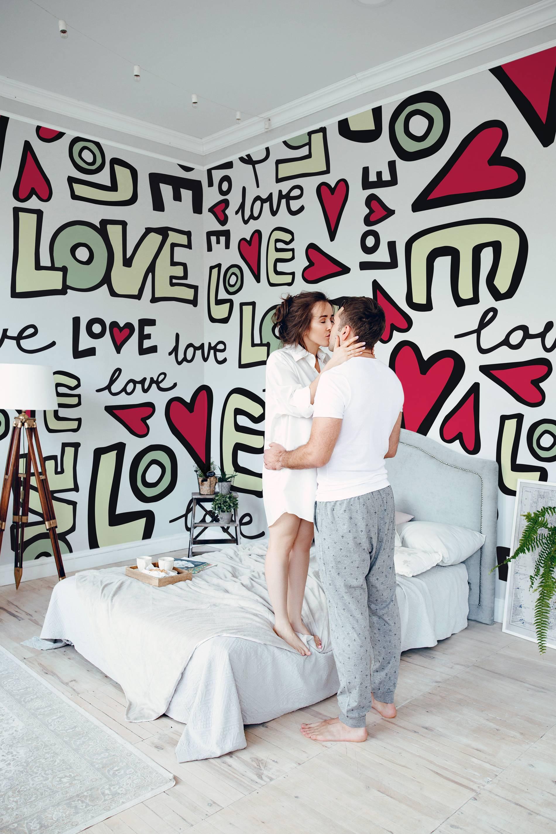 Liebe Typographie • Skandinavisch - Schlafzimmer - Fototapeten • Pixers® -  Wir leben, um zu verändern