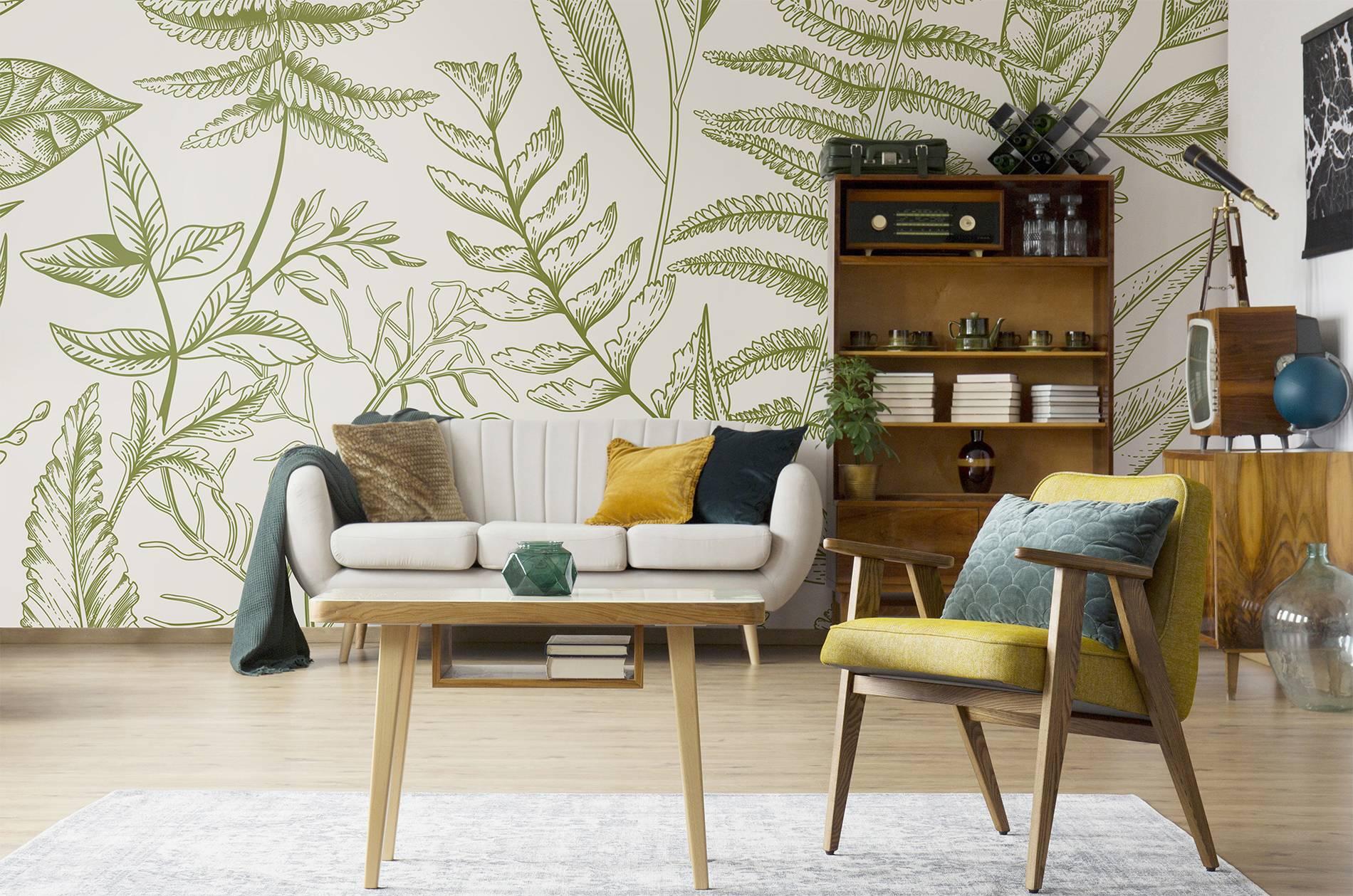 botanischer retro vintage wohnzimmer fototapeten poster natur pixers wir leben. Black Bedroom Furniture Sets. Home Design Ideas