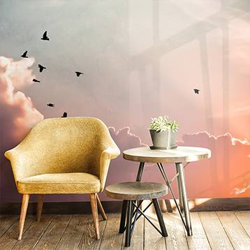 Wall mural - Pink clouds and birds