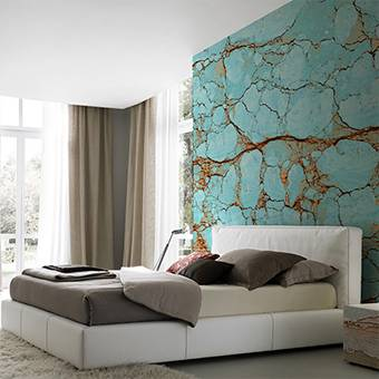 Wall mural for the bedroom - Blue stone mosaic