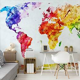 Wall mural - World map in rainbow colors