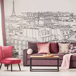 Wall mural for the living room - Paris roofs and the Eiffel Tower