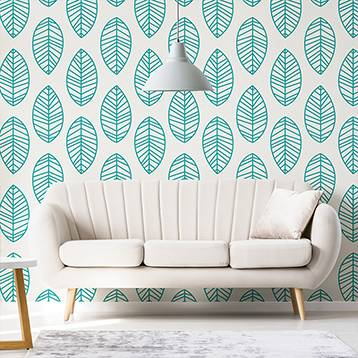 Wall mural for the living room - Turquoise leaves