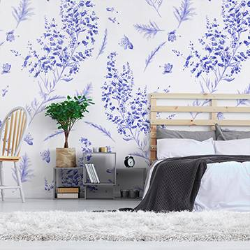 Wall mural - Lavender on a white background