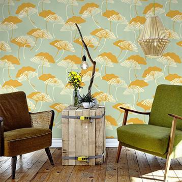 Wall mural - Retro pattern with dandelions