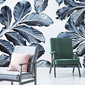 Wall mural for the living room - Ink leaves