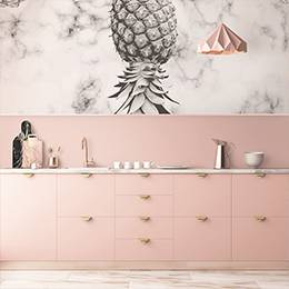 Vinyl wall mural - Pineapple and marble