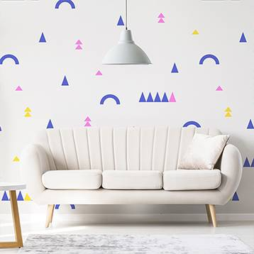 Wall mural for the living room - Triangles and arches