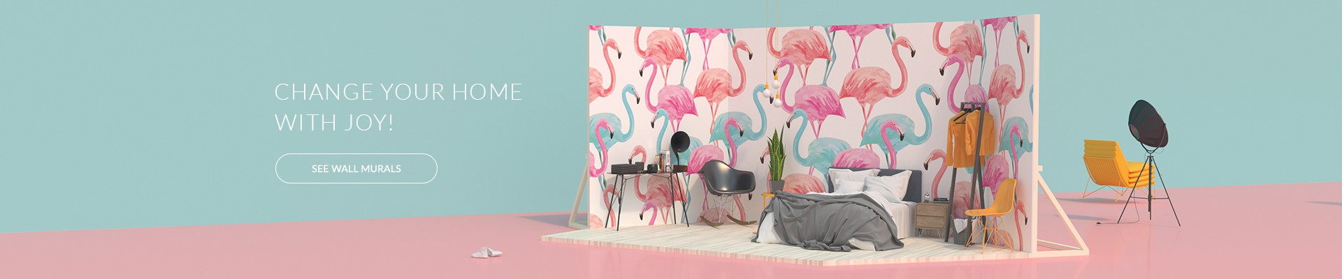 Wall mural - Colorful flamingos