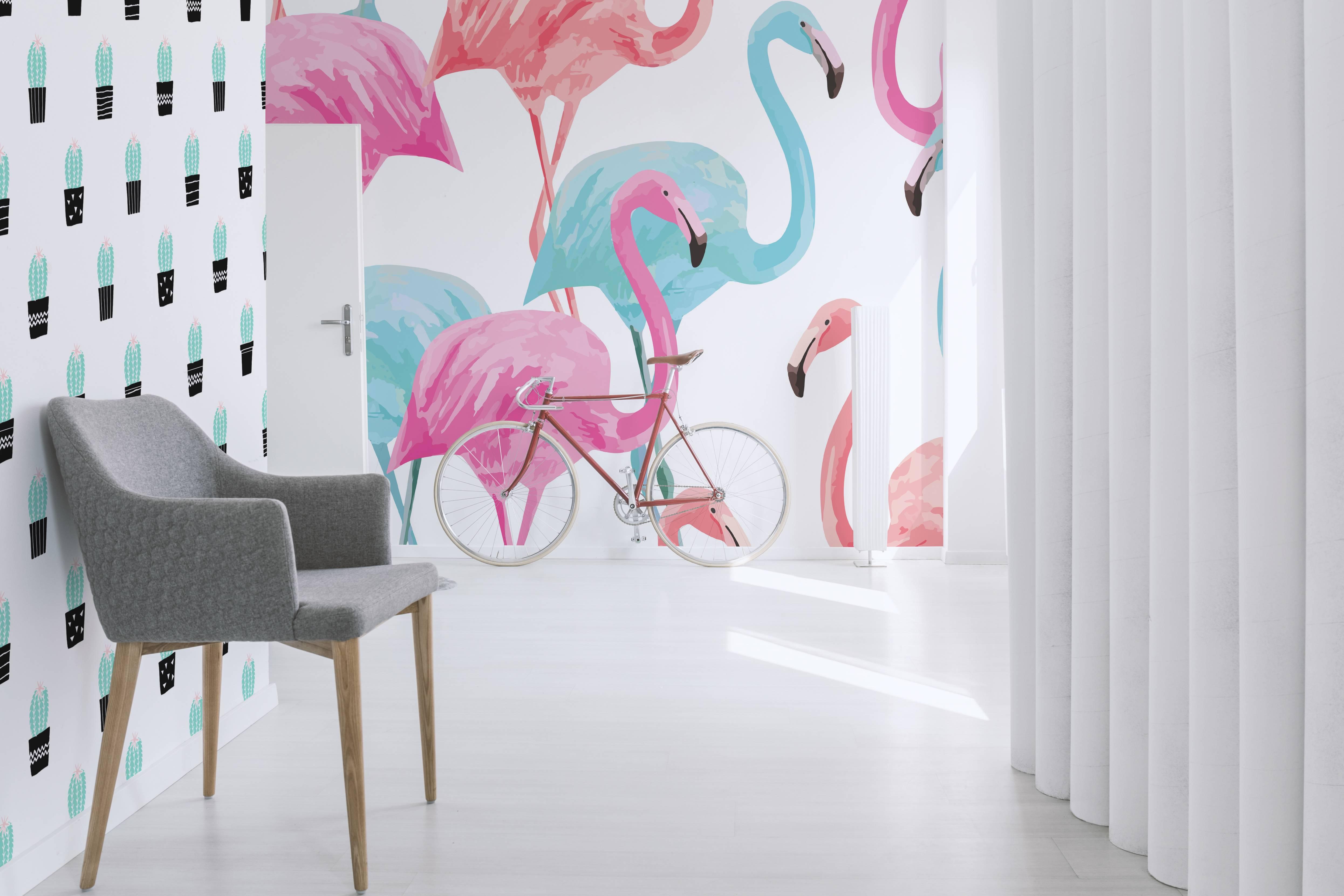 Vinyl Wall Mural Flamingo Watercolor Pattern