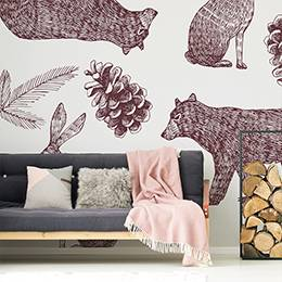 Wall mural - Animals in the autumn forest