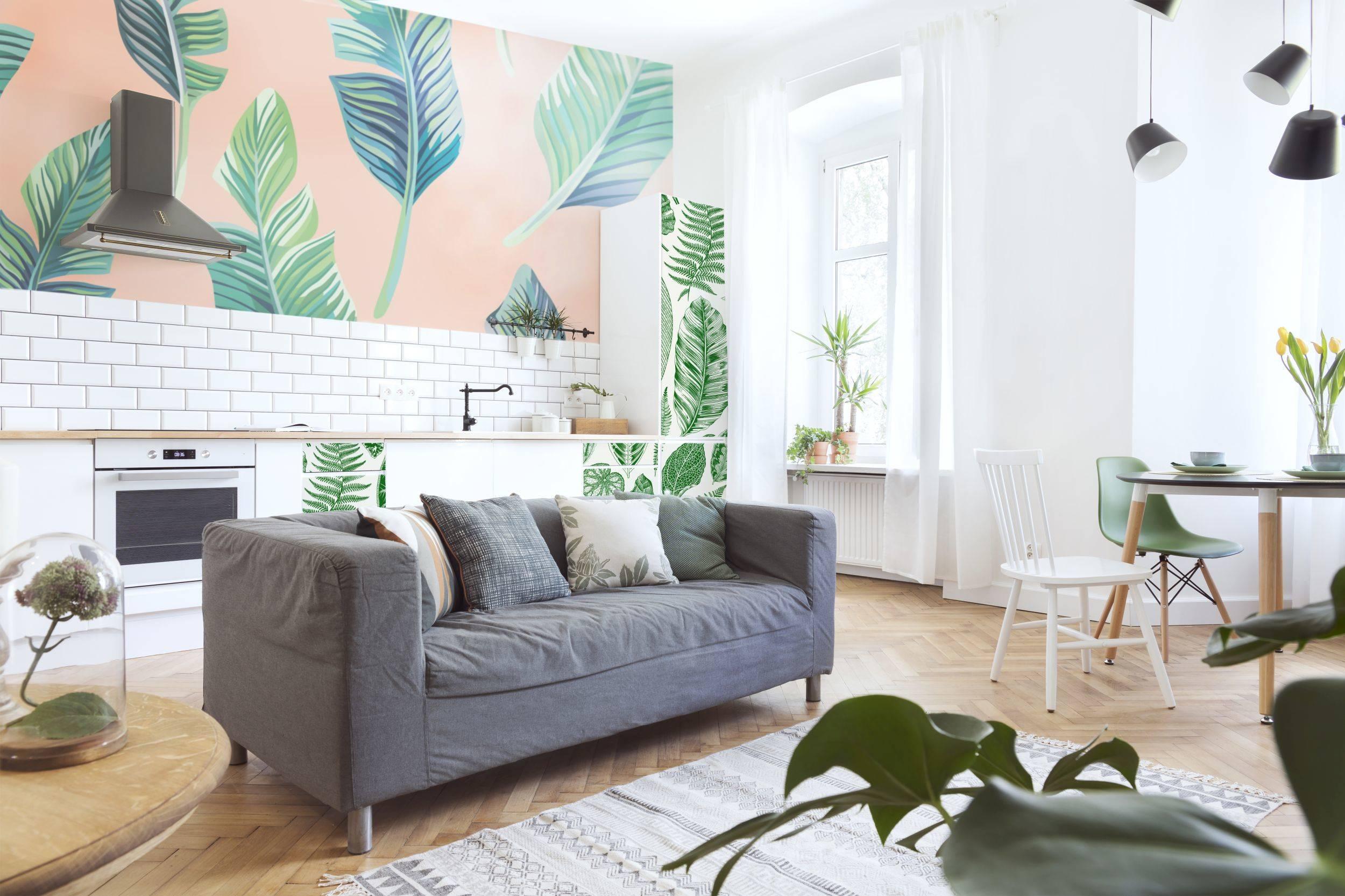 Yaprakları ve pembe • Salon - Modern - Duvar Resimleri - Doğa ...