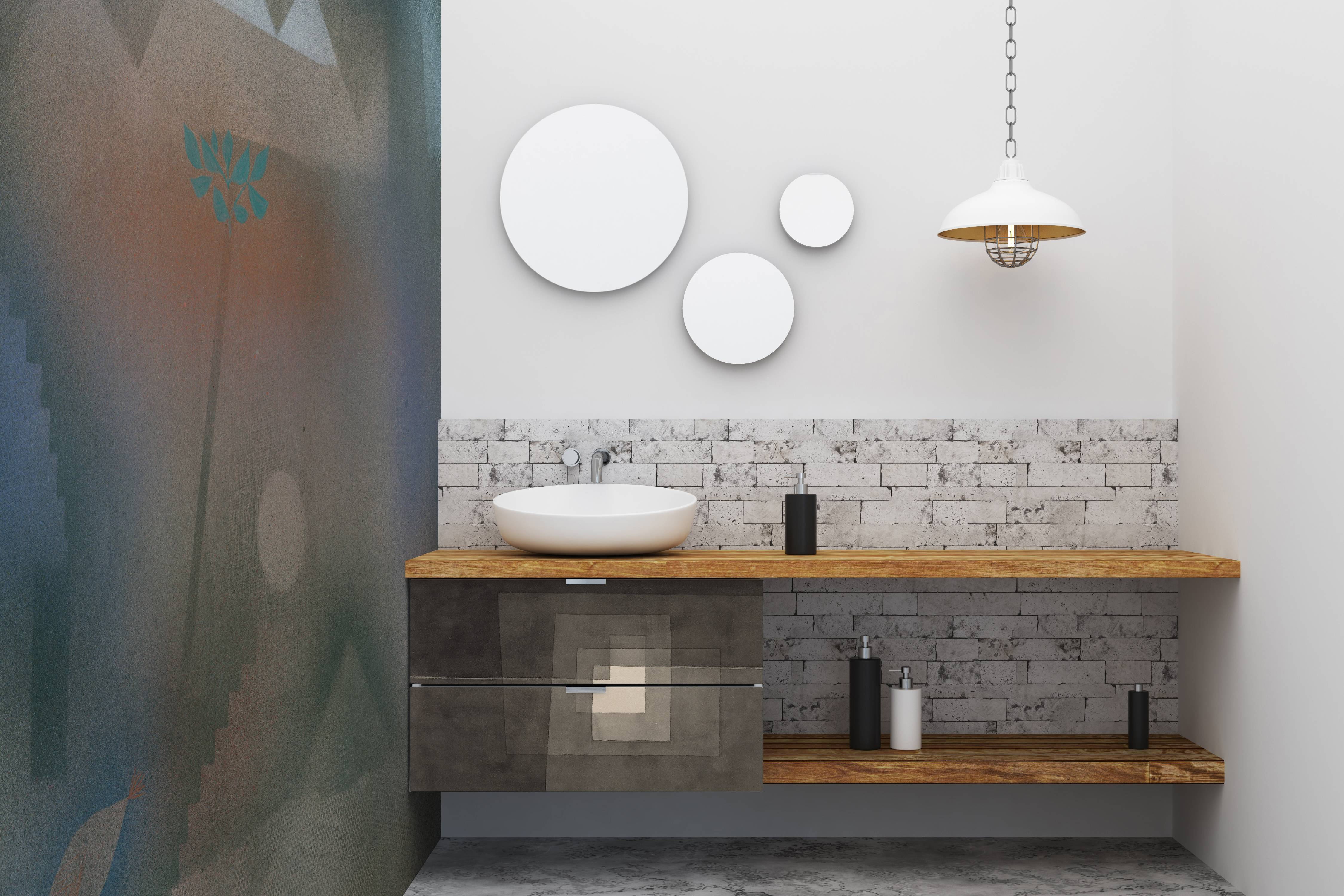 grays and browns • Bathroom - Minimalist - Wall Murals - Stickers ...