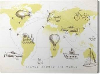 Cuadros en Lienzo Mapas del mundo para niños
