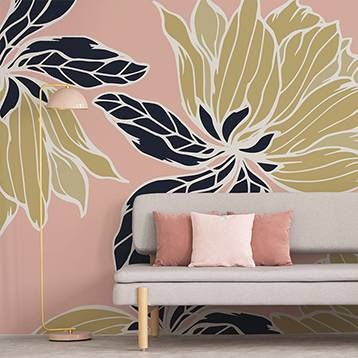 Wall mural - Gold-black flowers on a pink background
