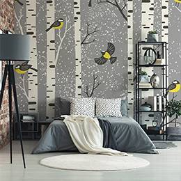 Vinyl wall mural - Birds in a birch winter forest
