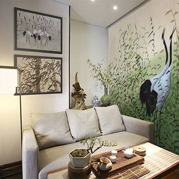 Wall mural for the living room - Cranes