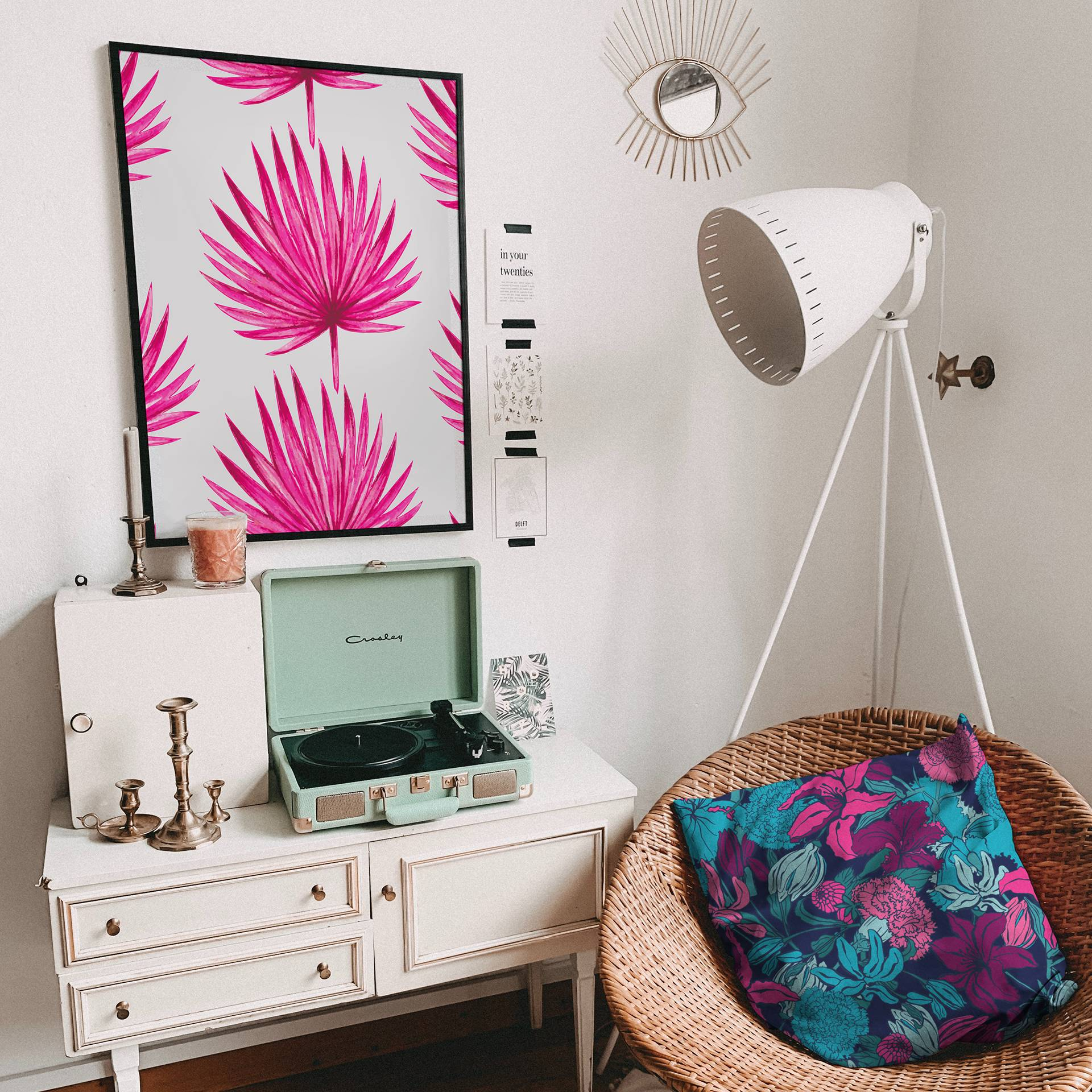 Pink Paradise Glamour Living Room Bedroom Eclectic Posters Nature Flowers And Plants Watercolours Pillows Art Lifestyle
