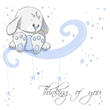 Greeting card - Blue rabbit thinking of you
