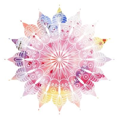 Mandala kolorowe akwarele. Piękny okrągły wzór. Szczegółowe abstrakcyjny wzór. Dekoracyjne izolowane.