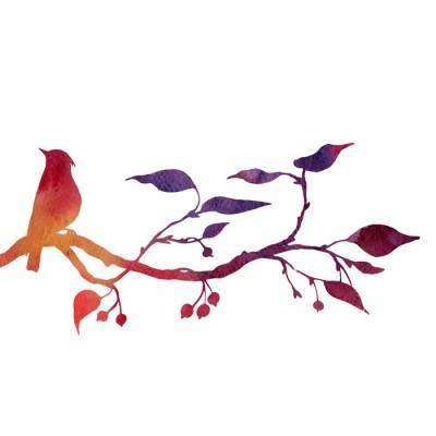 Ptak na drzewie sylwetki