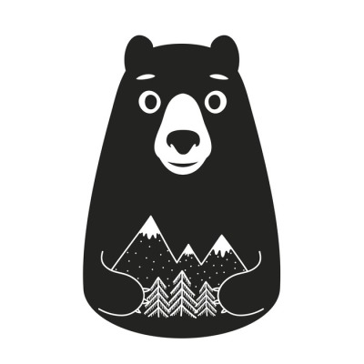 Vector illustration with cartoon style bear holding mountains and pine trees