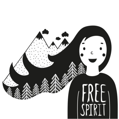 Cute vector illustration with happy girl and mountains with pine forest in her hair. Free spirit lettering