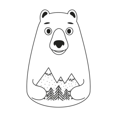 Vector illustration with cute white bear holding pine trees and mountains.