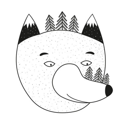 Vector illustration with cartoon wolf head, pine trees and mountains.