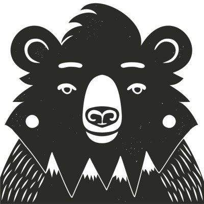 Vector illustration with black bear and mountains