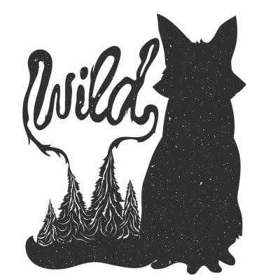 Vector typography poster with sitting fox silhouette and trees