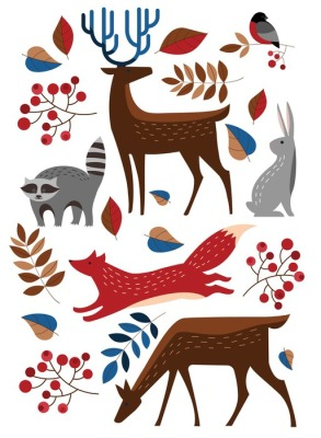 Set Vector forest animals. Raccoon, deer, Fox, rabbit, hare, bullfinch. Winter forest.