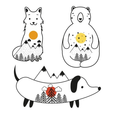 Vector set with bear, fox and dachshund dog with mountains and forest inside