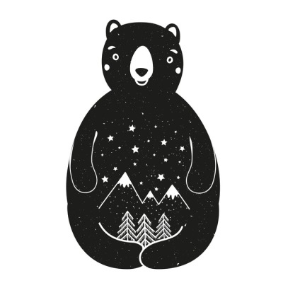 Vector illustration with cute cartoon style bear. Pine trees, stars and mountains.