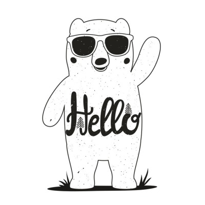 Vector illustration with funny bear in sunglasses. Lovely card with stylish animal. Hello lettering.