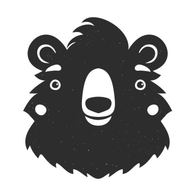 Vector black and white illustration with isolated bear head