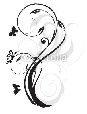 arabesque floral noir et gris papillons