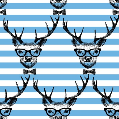 Seamless with hand drawn dressed up deer