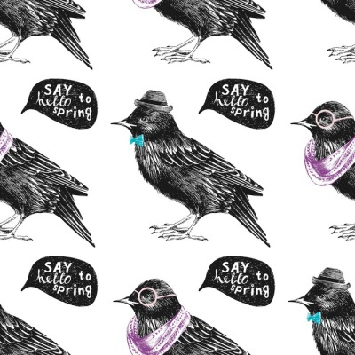 seamless pattern with dressed up starling