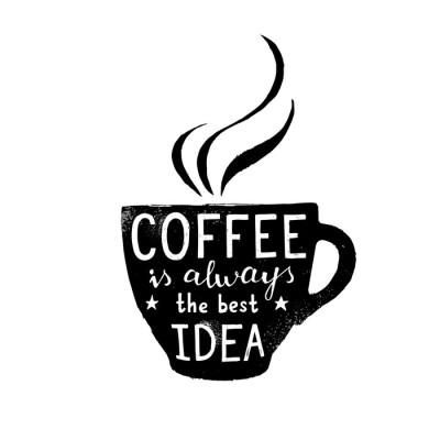 Ilustracja filiżanki kawy z napisem