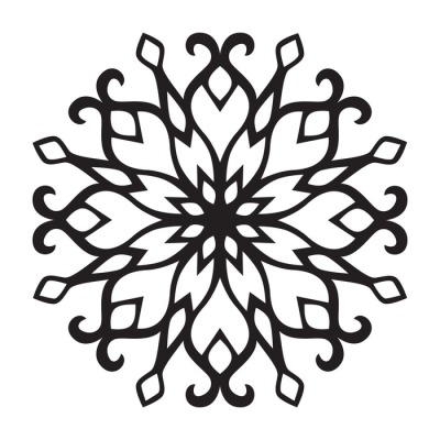 Vector flat snowflake. Black silhouette of snowflake isolated on a white background.