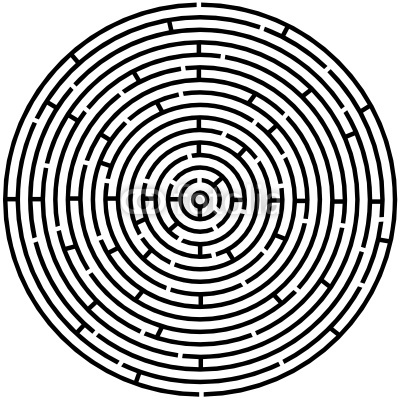Vector illustration of simple maze circle labyrinth