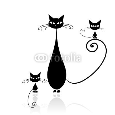 Black cat with kitten silhouette for your design